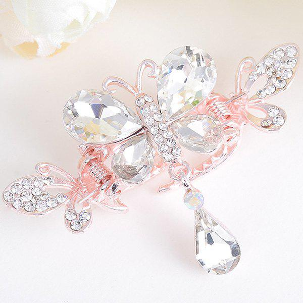 Butterfly Shape Rhinestone Inlay Hair ClipACCESSORIES<br><br>Color: WHITE; Headwear Type: Hairgrips; Group: Adult; Gender: For Women; Style: Fashion; Pattern Type: Animal; Shape/Pattern: Animal; Material: Alloy; Weight: 0.0100kg; Package Contents: 1 x Hairgrip;