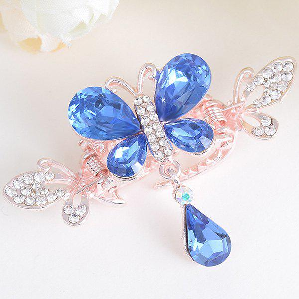 Butterfly Shape Rhinestone Inlay Hair ClipACCESSORIES<br><br>Color: BLUE; Headwear Type: Hairgrips; Group: Adult; Gender: For Women; Style: Fashion; Pattern Type: Animal; Shape/Pattern: Animal; Material: Alloy; Weight: 0.0100kg; Package Contents: 1 x Hairgrip;