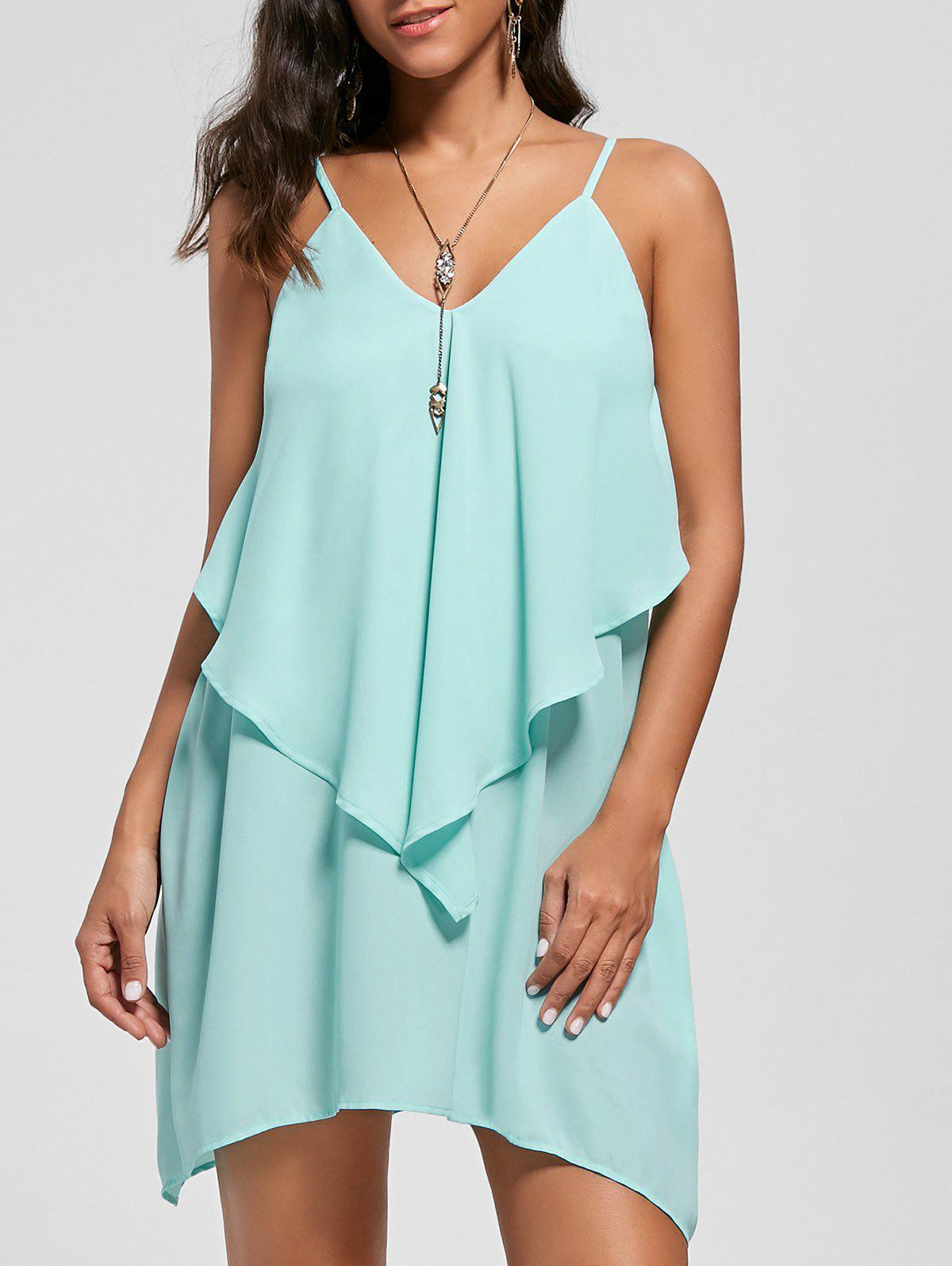 Fashion Overlay Crescent Hem Slip Dress