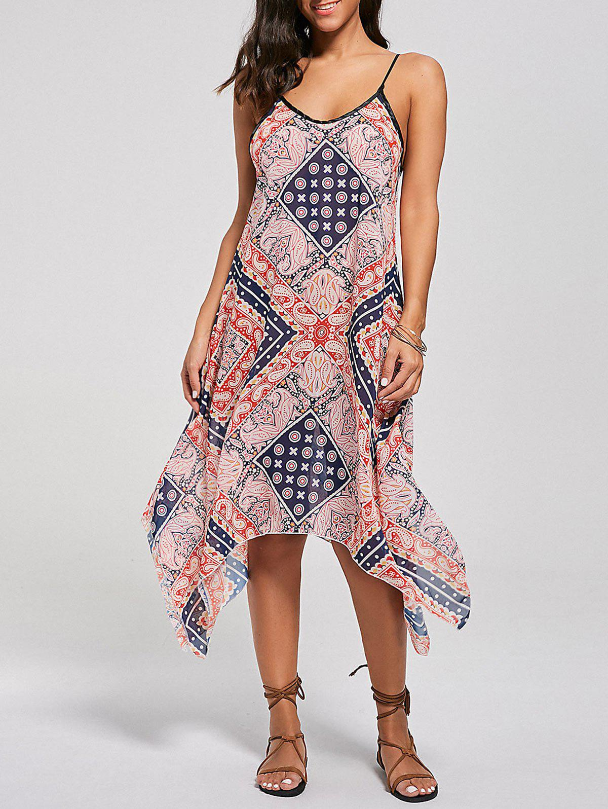 Sale Tribal Print Lace Up Handkerchief Bohemian Dress