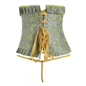 Lace-Up Steel Boned Jacquard Corset - YELLOW S