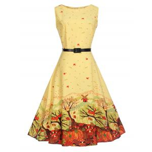 Sleeveless Printed A Line Dress with Belt - Yellow - M