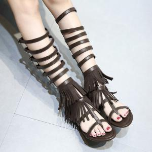 Buckle Straps Fringe Flat Sandals - Deep Brown - 38