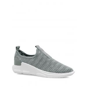 Letter Pattern Breathable Athletic Shoes - Gray - 38