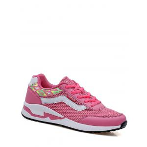 Geometric Pattern Breathable Athletic Shoes - Peach Red - 38