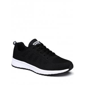 Breathable Eyelet Embroidery Athletic Shoes - Black - 40