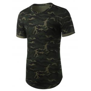 Arc Hem Crew Neck Camouflage Tee - ARMY GREEN L