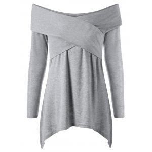 Cross Front Off Shoulder Long Sleeve T-Shirt - Light Grey - 2xl