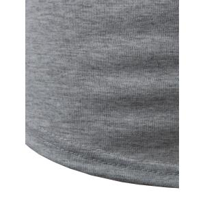 Arc Hem Zipper Embellished Tee - GRAY L