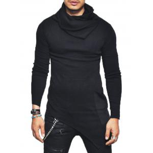 Pocket Cowl Neck Asymmetrical Sweater - Black - Xl