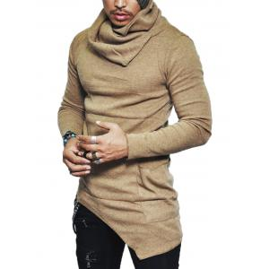 Pocket Cowl Neck Asymmetrical Sweater - Khaki - Xl