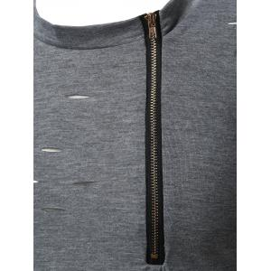 Crew Neck Half Zip Distressed Tee - GRAY L