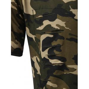 High Low Back Slit Distressed Tee - CAMOUFLAGE 2XL