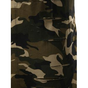 High Low Back Slit Asymmetric Distressed Tee - CAMOUFLAGE XL