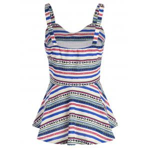 Tribal Geometric Print Peplum Tank Top - COLORMIX L