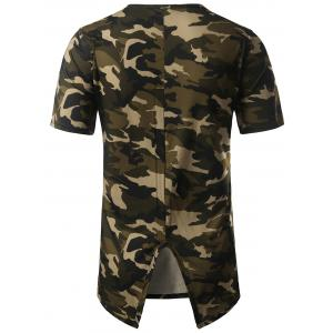 High Low Back Slit Asymmetric Distressed Tee - CAMOUFLAGE L