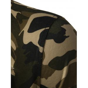 High Low Back Slit Distressed Tee - CAMOUFLAGE L