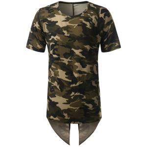 High Low Back Slit Asymmetric Distressed Tee - Camouflage - L