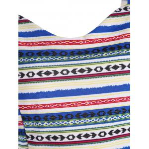 Tribal Geometric Print Peplum Tank Top - COLORMIX 2XL