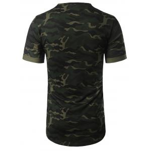 Arc Hem Crew Neck Camouflage Tee - ARMY GREEN 2XL