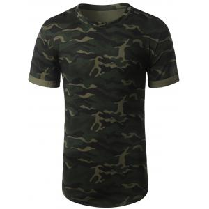 Arc Hem Crew Neck Camouflage Tee - Army Green - 2xl