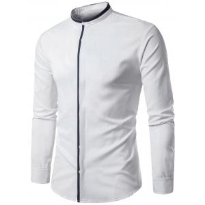 Long Sleeve Color Block Panel Cover Placket Shirt - White - L