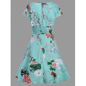 A Line Plus Size Vintage Flower Dress -