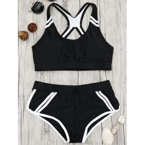 Back Cut Out Sports Bikini Set - Black - Xl