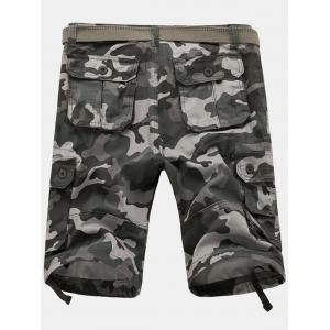 Zip Fly Flap Pockets Camouflage Cargo Shorts - GRAY 34