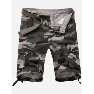 Zip Fly Flap Pockets Camouflage Cargo Shorts - Gray - 32