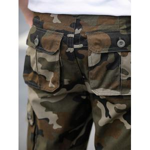 Zip Fly Flap Pockets Camouflage Cargo Shorts - ARMY GREEN 34