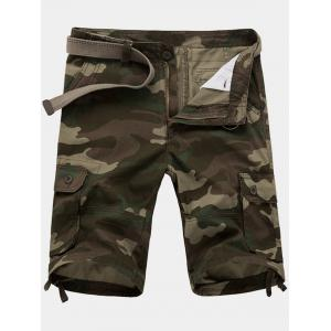 Zip Fly Flap Pockets Camouflage Cargo Shorts - Army Green - 32
