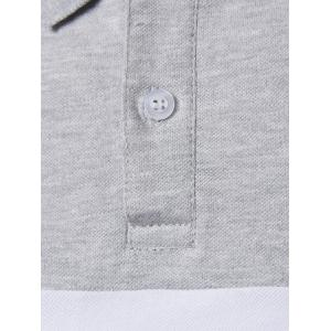 Striped Color Block Patch Polo Shirt - GRAY 5XL