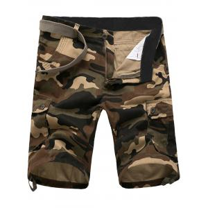 Zip Fly Flap Pockets Camouflage Cargo Shorts - Khaki - 34