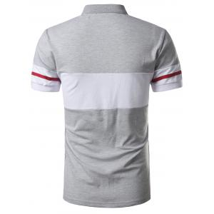 Striped Color Block Patch Polo Shirt - GRAY 3XL