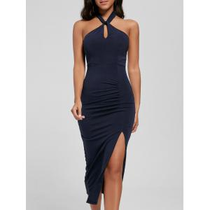 Halter Ruched Slit Bodycon Dress - Deep Blue - S