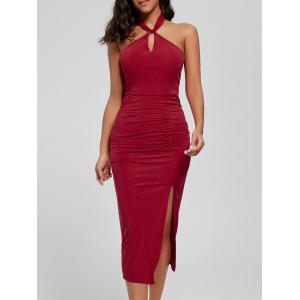 Halter Ruched Slit Bodycon Dress