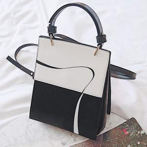 Top Handle Ribbon Print Backpack - WHITE AND BLACK