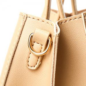 Square Handle PU Leather Tote Bag - APRICOT