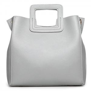 Square Handle PU Leather Tote Bag - Light Gray - 37