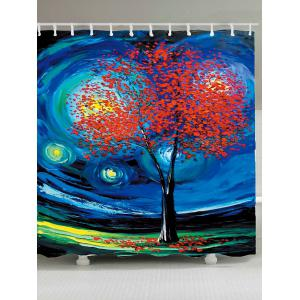 Tree of Life Oil Painting Waterproof Shower Curtain - Blue - W71 Inch * L79 Inch