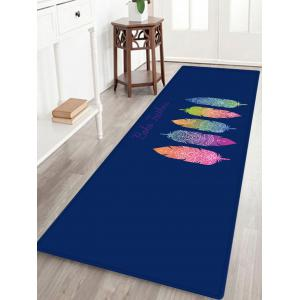 Boho Feather Pattern Anti-skid Water Absorption Area Rug - Colormix - W24 Inch * L71 Inch