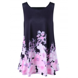 Floral Open Back Plus Size Tank Top - Black - Xl