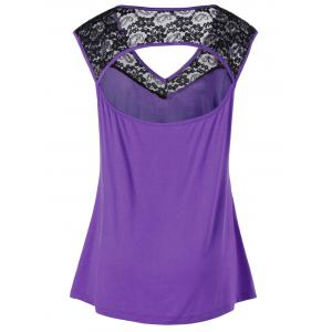 Plus Size Lace Insert Open Back Top - PURPLE 5XL