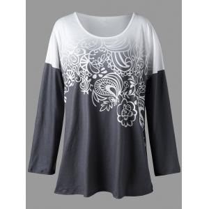 Plus Size Ombre Bandana Floral Top - Charcoal Gray - 4xl