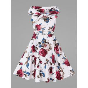 Rose Floral Plus Size Vintage Full Dress with Belt