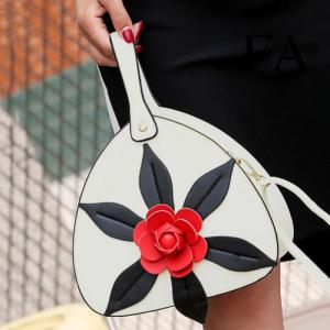 PU Leather Flower Handbag - White