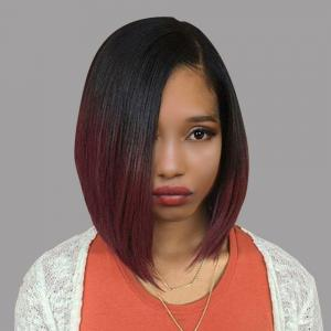 Short Side Part Straight Bob Ombre Synthetic Wig - Black  And  Wine Red - 14inch