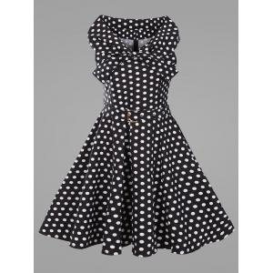 Plus Size Vintage Polka Dot Flare Dress with Belt - Black - 5xl