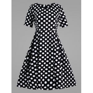 Polka Dot Plus Size Vintage Dress with Pockets
